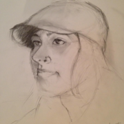 Girl in Black Cap, pencil on bristol paper