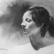 Aimee in profile, charcoal on Mylar