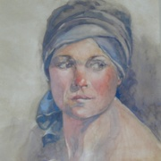 Woman Wearing Head Scarf, watercolor on plate bristol