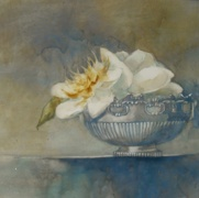 Silver Bowl, watercolor on plate bristol