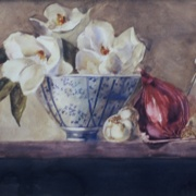 Magnolias with Red Onion, watercolor on plate bristol