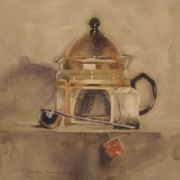 Silver Scoop and Tea, watercolor on plate bristol