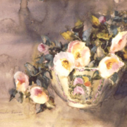 Camelias in Oriental Bowl, watercolor on plate bristol