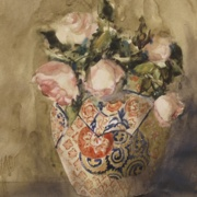 Tea Roses in Ornamental Vase, watercolor on plate bristol