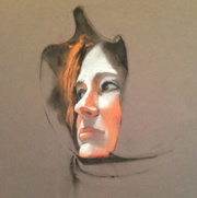 Woman in Hooded Scarf, black/white charcoal with pastel on paper