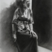 Smoke Break, charcoal on Mylar