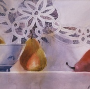 Still Life with Red Pear, watercolor on plate bristol