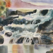 Shelbourne Falls, watercolor on plate bristol