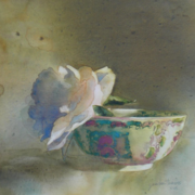 Oriental Bowl w/Peony, watercolor on plate bristol