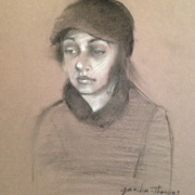 Young Girl in Black Cap, black and white charcoal on toned paper
