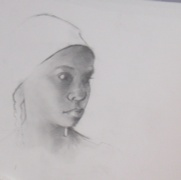 Girl with Braids, graphite on paper