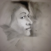 Apprehensive, charcoal on Mylar