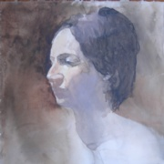Aimee II, watercolor on plate bristol