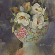 Magnolias in Oriental Bowl, watercolor on plate bristol