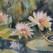 Lotus Reflections, watercolor on handmade rough paper