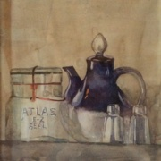 Peter Pots Teapot, watercolor on plate bristol